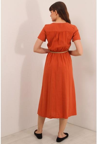 Reyon Kruvaze Yaka Kısa Kol Uzun Elbise Kiremit