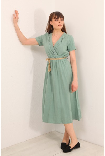 Reyon Kruvaze Yaka Kısa Kol Uzun Elbise Mint
