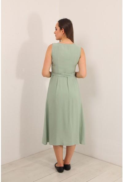 Reyon Sıfır Kol Çift Çep Elbise Mint