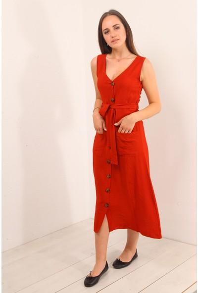 Reyon Sıfır Kol Çift Çep Elbise Kiremit