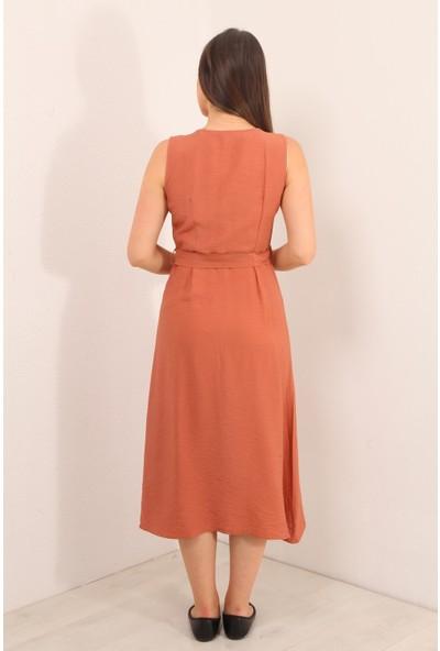 Reyon Sıfır Kol Çift Çep Elbise Pudra