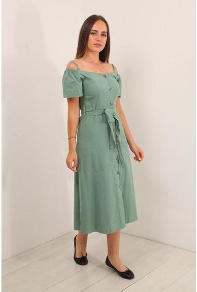 Reyon Düşük Omuz Kuşaklı Uzun Elbise Mint