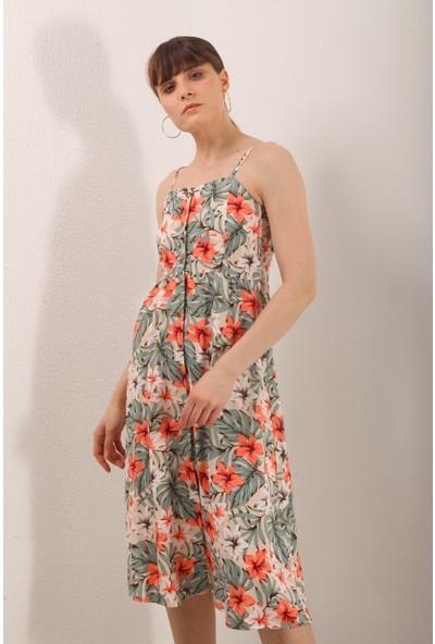 Reyon Ip Asklı Çiçek Desen Elbise Yeşil