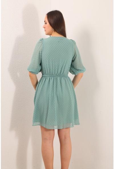 Reyon V Yaka Bel Büzgülü Şifon Elbise Mint