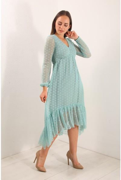 Reyon Puantiyeli Tül Detay Şifon Elbise Mint