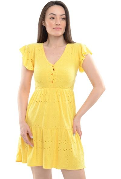 Reyon Kol Fırfır Bel Büzgülü Işlemeli Elbise Sarı