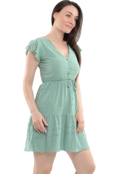 Reyon Kol Fırfır Bel Büzgülü Işlemeli Elbise Mint Yeşili