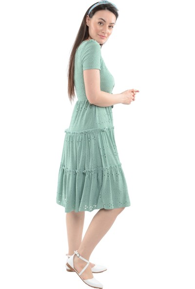 Reyon Kare Yaka Katlı Elbise Mint Yeşili