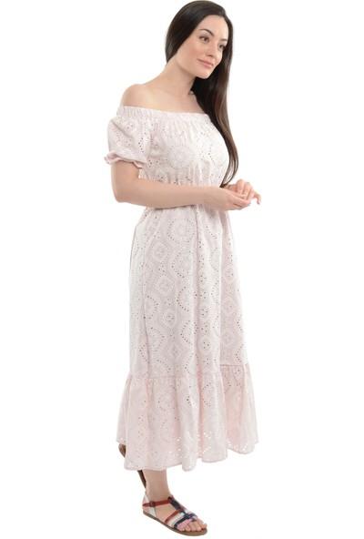 Reyon Kayık Yaka Kol Büzgülü Elbise Pudra