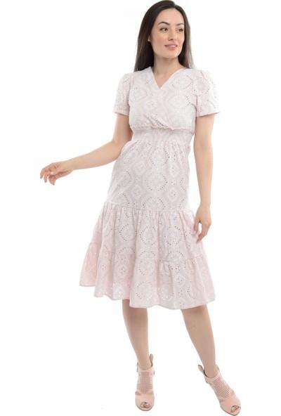 Reyon Kruvaze Yaka Bel Büzgülü Elbise Pudra