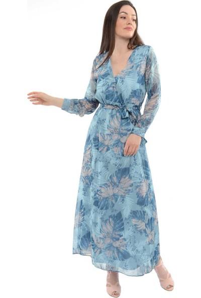 Reyon Kruvaze Yaka Desenli Şifon Uzun Elbise Mavi