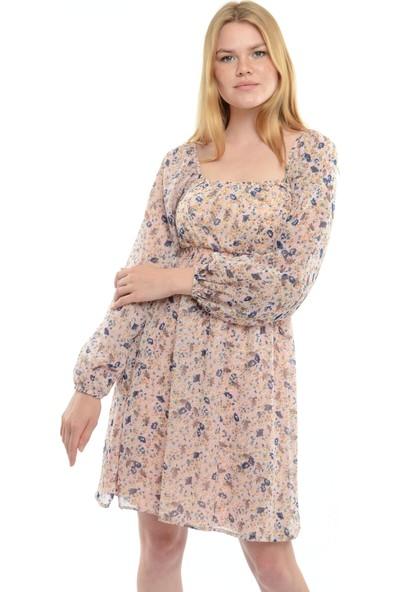 Reyon Kayık Yaka Bel Büzgülü Şifon Elbise Pudra