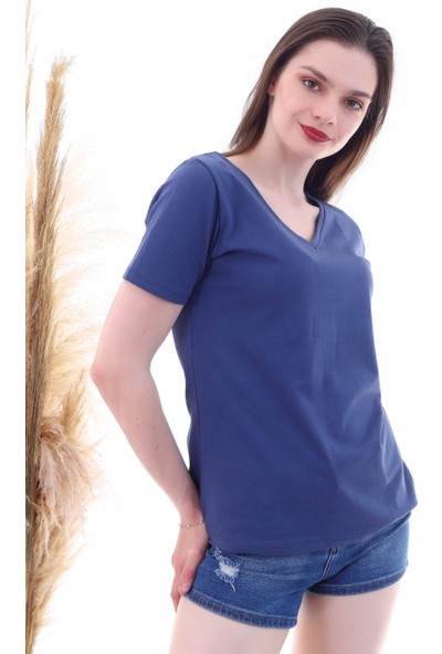 Cotton Mood 7050466 V Yaka Boyfriend T-Shirt