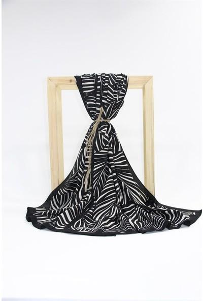 Moda Kaşmir Medine Ipeği Şal SL008-SİYAH Beyaz