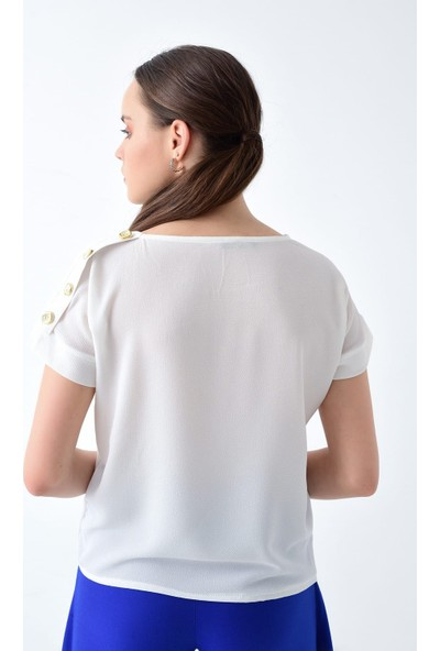 Miss Lusi 9223013 Kobe Sol Omuzu Düğmeli Yarasa Kol Bluz