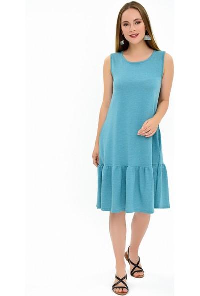 Miss Lusi 9292932 Ikiiplik Eteği Fırfırlı Cepli Kolsuz Elbise