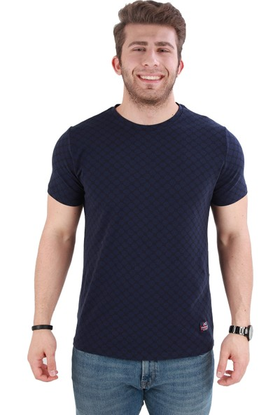 Alexander Gardi Baskılı Bisiklet Yaka Regular Fit T-Shirt Lacivert (E20-27689)