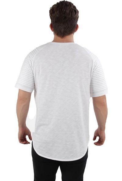 Alexander Gardi Bisiklet Yaka Filamli Salaş Model T-Shirt Beyaz (20 Orf Ts 0)