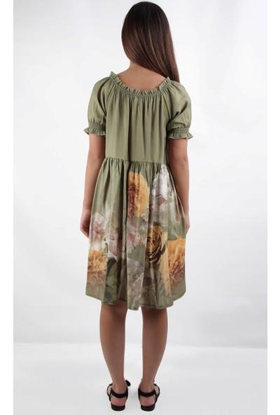 Alexander Gardi Çiçekli Boyundan Bağlamalı Comfort Kalıp Elbise Haki (B20-160904)
