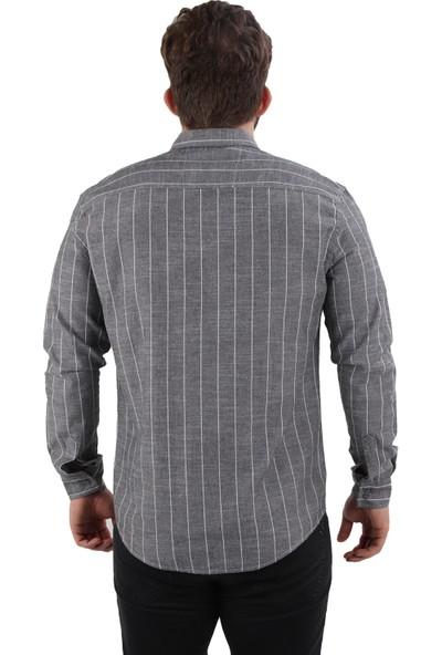 Alexander Gardi Çizgili Flamlı Kumaş Regular Fit Erkek Gömlek Antrasit (E20-611201)