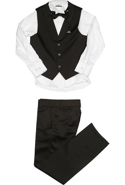 Nanica Ceplı Papyon Takım Erkek Çocuk Pantolon-Siyah