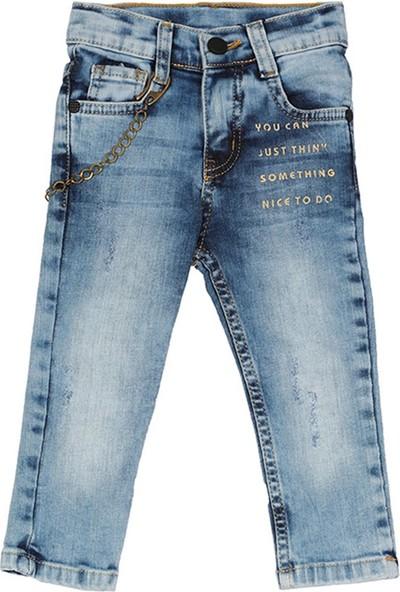 Nanica Aksesuarlı Baskılı Kot Erkek Çocuk Pantolon-Mavi