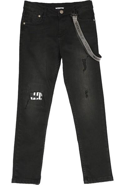 Nanica Armalı Aksesuarlı Baskılı Kot Erkek Çocuk Pantolon-Siyah