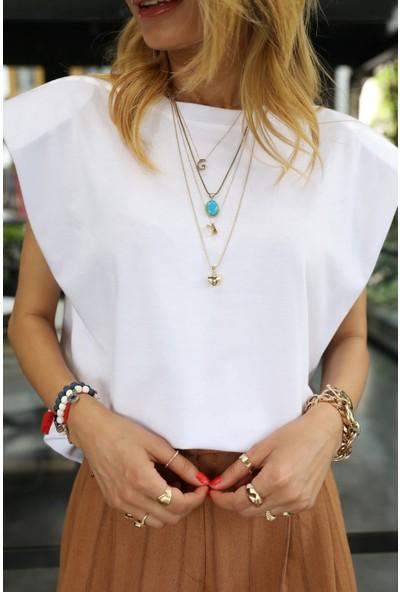 No33 Kolsuz Vatkalı Beyaz Penye Tshirt