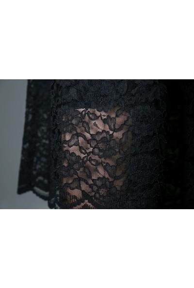 Selteks Tekstil Bisiklet Yaka Güpür Mezuniyet Elbisesi