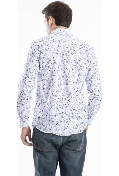 Deri Effect Mavi Desenli Uzun Kollu Gömlek
