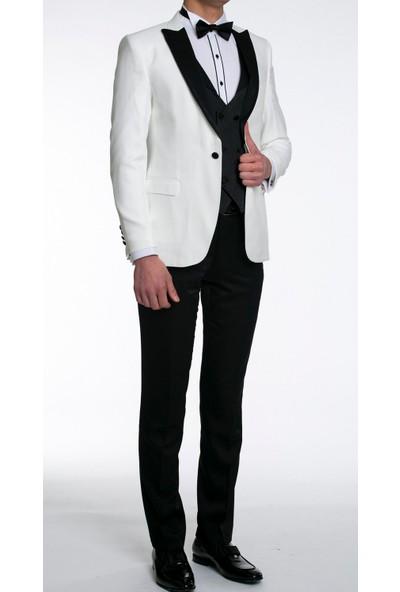 Suitmen Smokin Damatlık Yelekli Takım Elbise Beyaz 6006K0050403