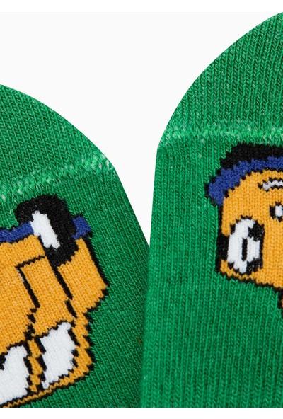 Bross Araba Desenli Babet Çocuk Çorabı Yeşil