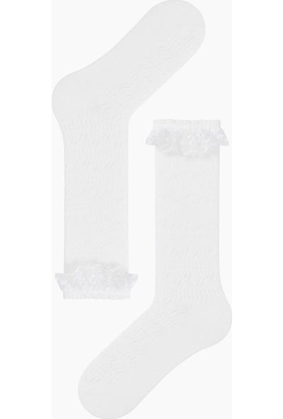 Bross File Dizaltı Çocuk Çorabı Beyaz