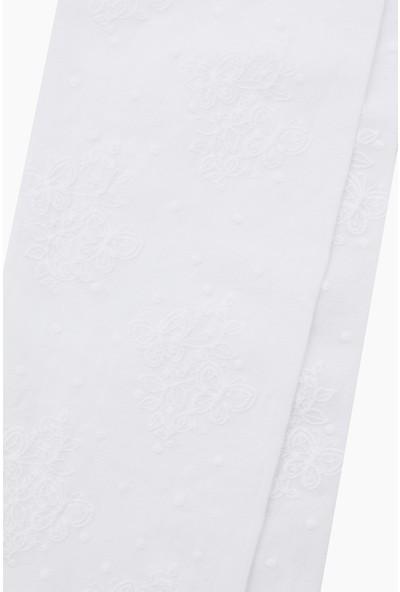 Bross Kelebek Desenli Ince Külotlu Çocuk Çorabı Beyaz