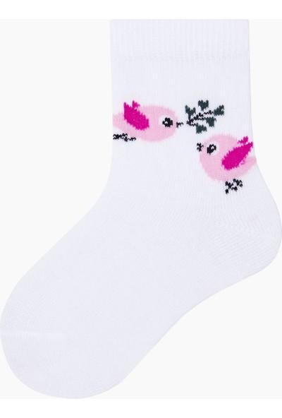 Bross Kuş Desenli Bebek Çorabı Beyaz