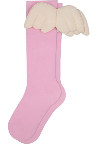 Bross Melek Kanatlı Dizaltı Çocuk Çorabı Pembe