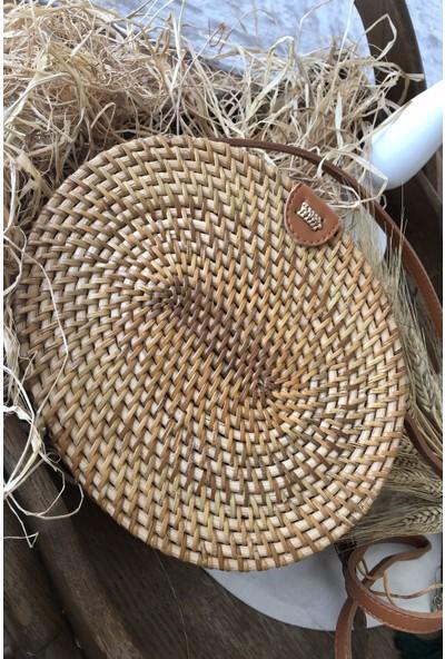 Oval Kahverengi Hasır Çanta