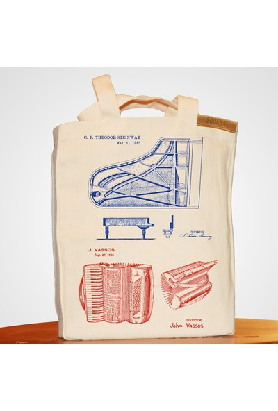Bookbag Tuşlu Enstruman Mucitleri Doğal Keten Çanta