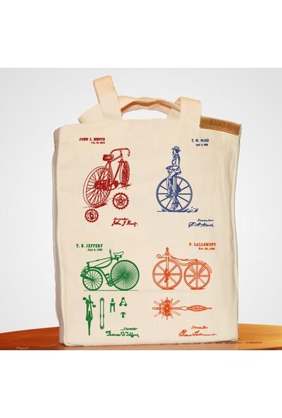 Bookbag Bisiklet Mucitleri Doğal Keten Çanta