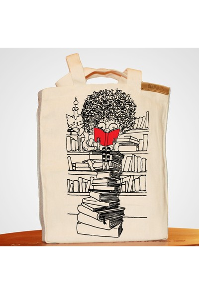Bookbag Curly Doğal Keten Çanta