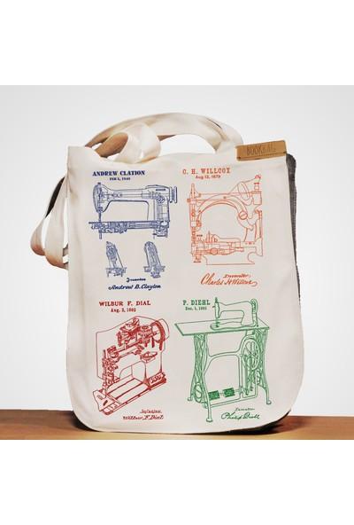 Bookbag Dikiş Makinesi Mucitleri Doğal Keten Çanta