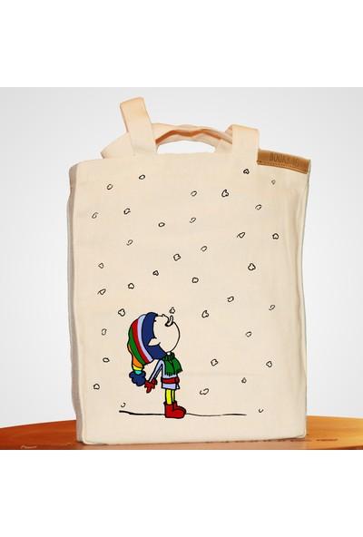 Bookbag Snow Boy Doğal Keten Çanta