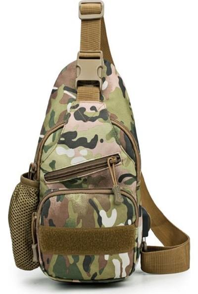 K&M King Men Su Geçirmez Askeri Sırt Ve Göğüs Çanta Askeri Çanta Usb Tasarım Suluklu Bölme Water Battle Bag