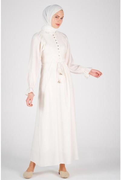 Armine Düğme Detaylı Kadın Günlük Elbise Ekru 20Y9119