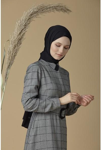 Armine Kemer Aksesuarlı Kadın Günlük Elbise Gri 9K9856