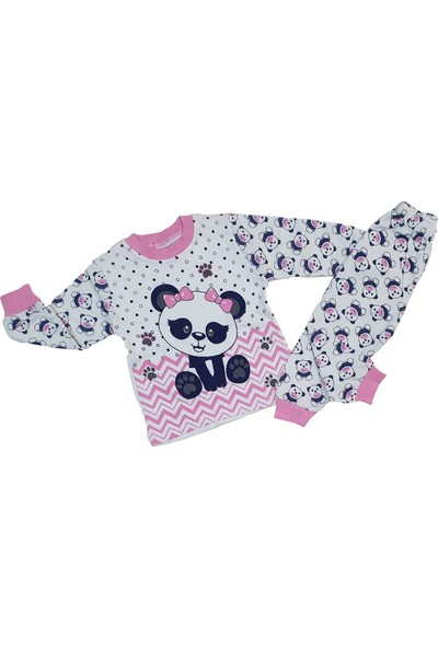 Süper Mini Fiyonklu Panda Modelli Pijama Takımı