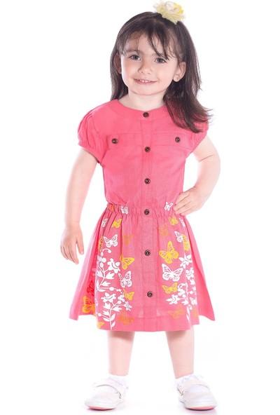 Oulabimir Yazlık Kelebek Baskılı Kız Elbisesi