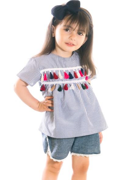 Oulabimir Yazlık Kız Çocuk Püsküllü Şortlu Takım