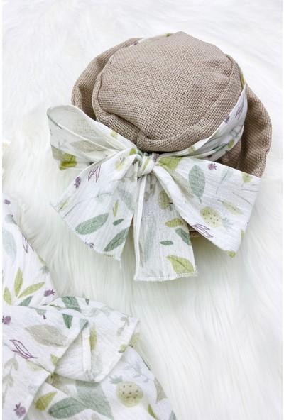 Colored Baby Kız Bebek Fırfır ve Fiyonk Detaylı Tulum ve Hasır Şapka