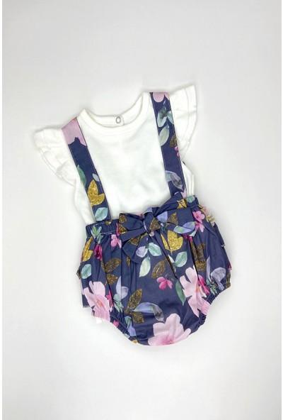 Colored Baby Kız Bebek Çiçekli Tulum 3 Parça